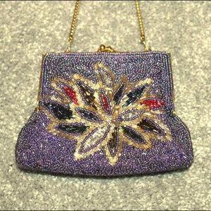 Vintage Floral Beaded Gold Trim Gatsby Evening Bag